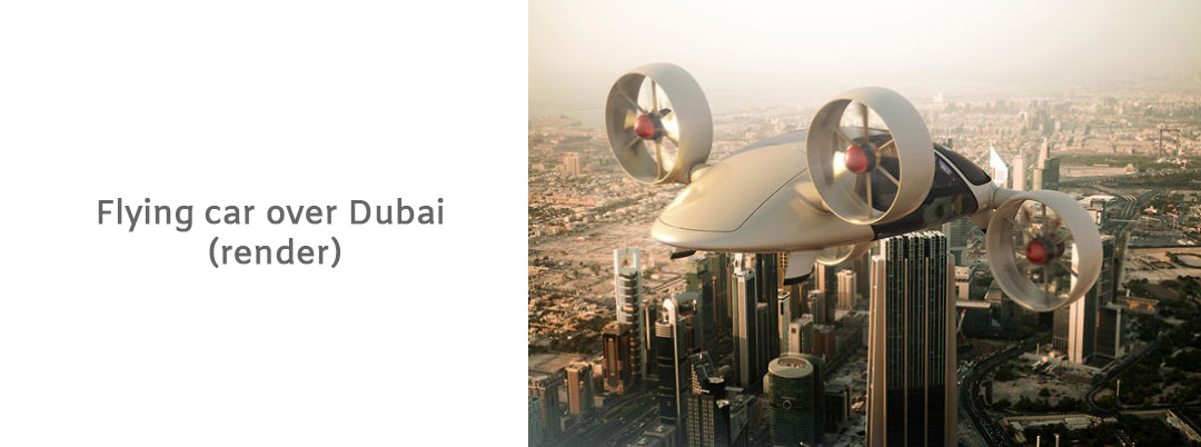 Image of flying car over Dubai. Can be paid with McFly token.