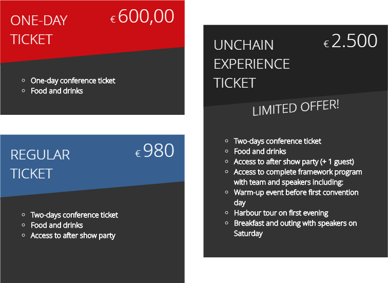 image of unchain convention ticket packages